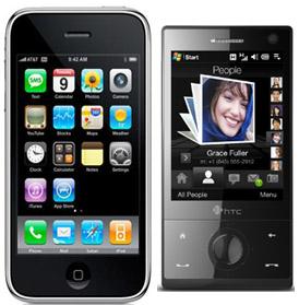 Apple iPhone priš HTC Touch Diamond